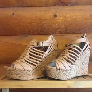 NOT RATED nude platform cork wedges